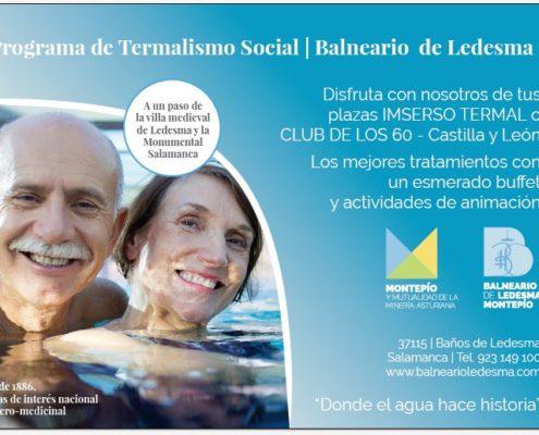 Programa de Termalismo Municipal del Balneario de Ledesma accesible a las personas mayores a través del IMSERSO